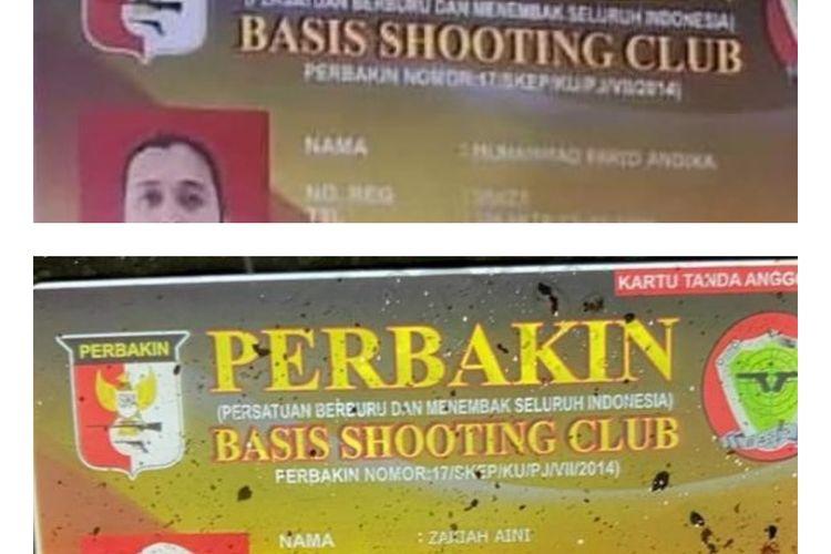 Kartu identitas Basis Shooting Club yang tersebar di media sosial dengan nama Zakiah Aini dan Muhammad Farid Andika.