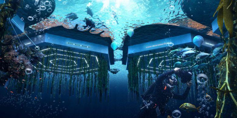 Kota juga didesain agar dapat menghasilkan bahan pangan mandiri lewat konsep pertanian bawah air.
