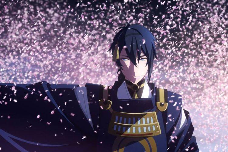 Aksi Mikazuki Munechika dalam serial anime Katsugeki Touken ranbu aja mbak