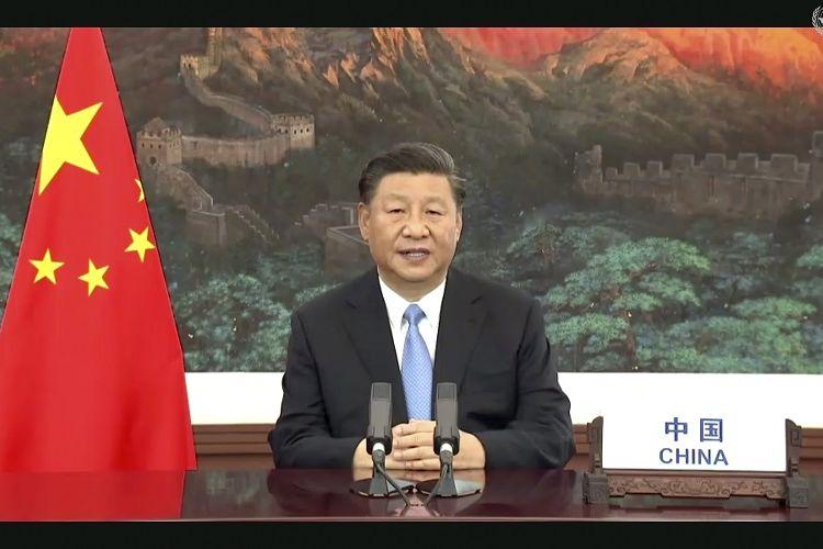 Presiden China Xi Jinping berbicara dalam pesan yang direkam sebelumnya yang diputar selama sesi ke-75 Sidang Umum Perserikatan Bangsa-Bangsa, Selasa, 22 September 2020, di markas besar PBB di New York.