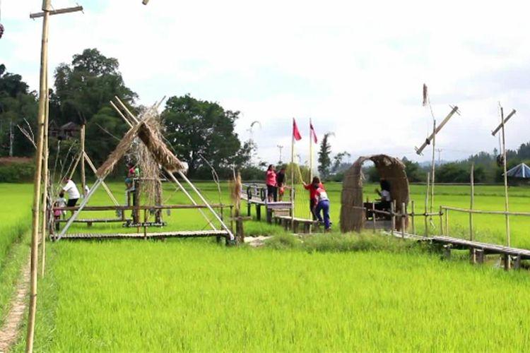 Kawasan Persawahan di Desa Tondok Bakaru di Mamasa, Sulbar, yang jadi spot wisata selfie baru. LOkasinya hanya 1,5 km dari Ibu Kota Mamasa, Sulbar.