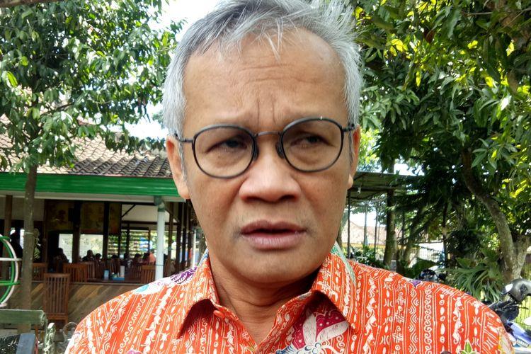 Direktur Program TKN Joko Widodo-Maaruf Amin, Aria Bima dalam acara Sosialisasi 4 Pilar Kebangsaandi Sukoharjo, Jawa Tengah, Minggu (10/3/2019).