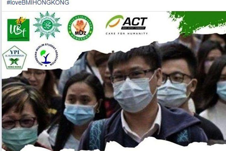 Aksi donor masker yang dilakukan oleh sejumlah komunitas buruh migrant Indonesia di Hong Kong yang diposting Nurul Budiyanti. Mereka berharap pemerintah Indonesia mmbantu kesulitan mendaatkan maske.
