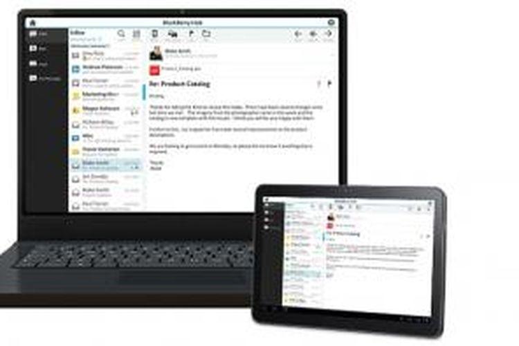 Ilustrasi penggunaan BlackBerry Hub melalui BlackBerry Blend di desktop dan tablet