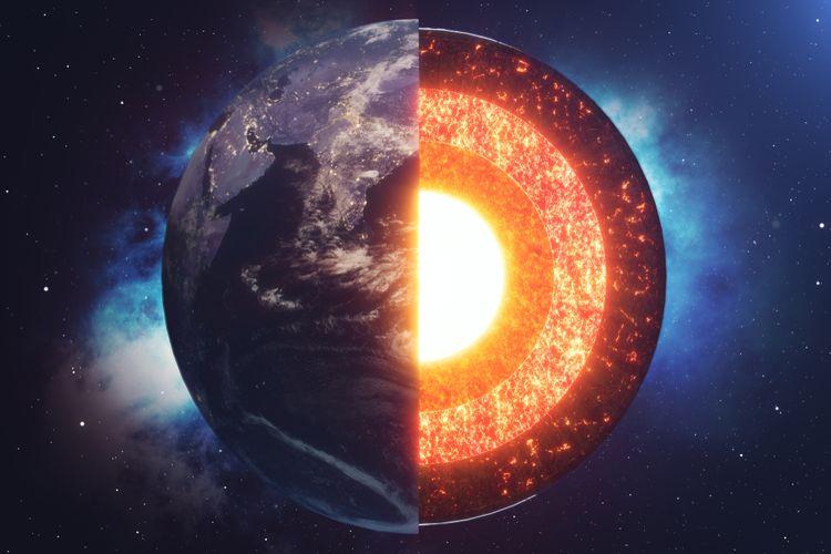 Ilustrasi lapisan Bumi. Studi baru ungkap inti Bumi tumbuh miring, menyebabkan berkurang panas planet ini di bawah Indonesia.