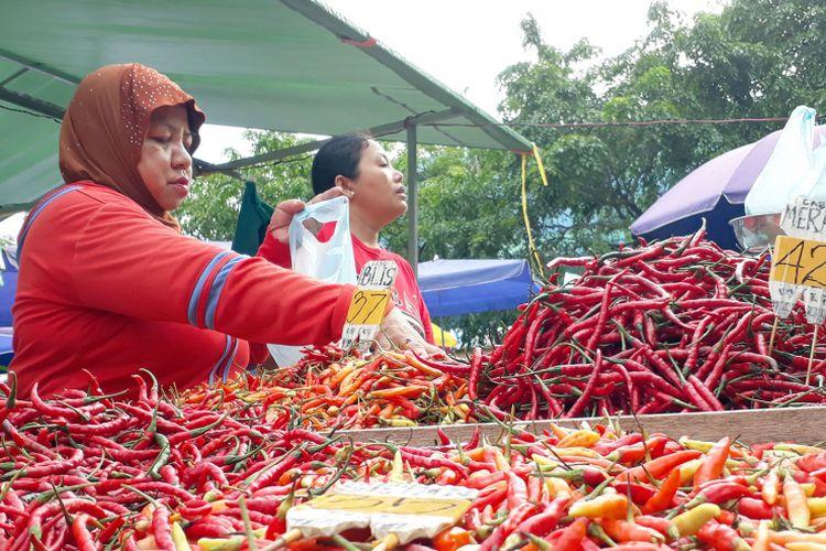 Salah seorang pedagang cabe ramit terlihat serius melayani pembeli. Saat ini komuditi pangan yang penyumbang inflasi di Kepri salah satunya cabe merah dan cabe rawit