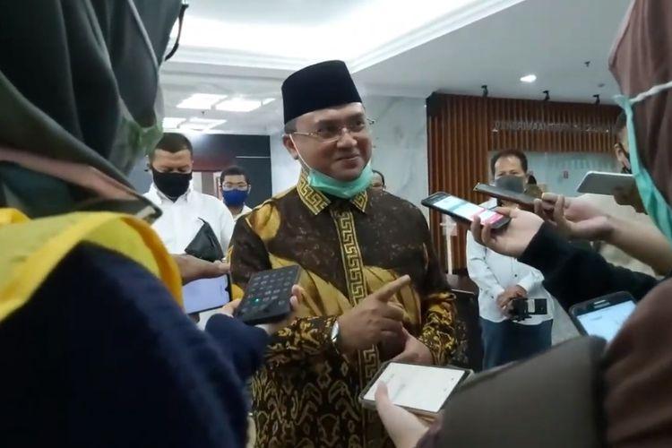 Gubernur Kepulauan Bangka Belitung, Erzaldi Rosman saat memberikat keterangan terkait gugatannya di Mahkamah Konstitusi, Jumat (10/7/20).