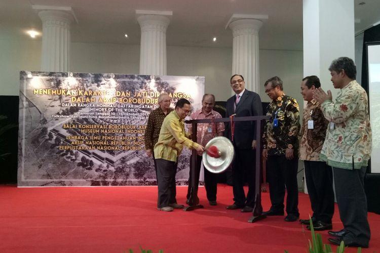 Pembukaan pameran restorasi Candi Borobudur sekaligus peluncuran aplikasi Borobudurpedia, di Museum Nasional, Jakarta, Selasa (10/10/2017).