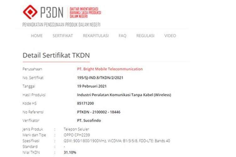 Tangkapan layar sertifikasi perangkat Oppo di laman TKDN Kemenperin