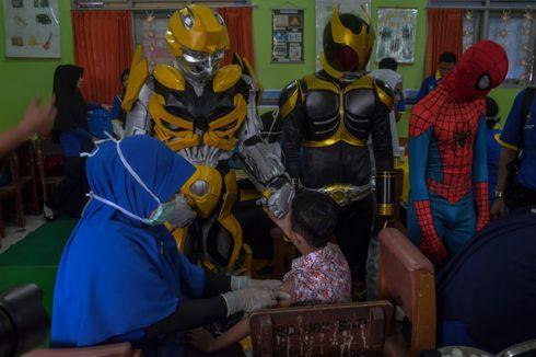 Imunisasi Vaksin MR Siswa SD, Ada 'Satria Baja Hitam' hingga 'Spiderman'