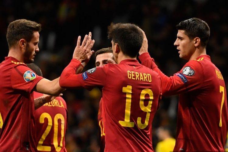 Pemain Spanyol berselebrasi setelah mencetak sebuah gol dalam pertandingan Grup F Kualifikasi Piala Eropa antara Spanyol dan Rumania di Stadion Wanda Metropolitano, Madrid, pada 18 November 2019.