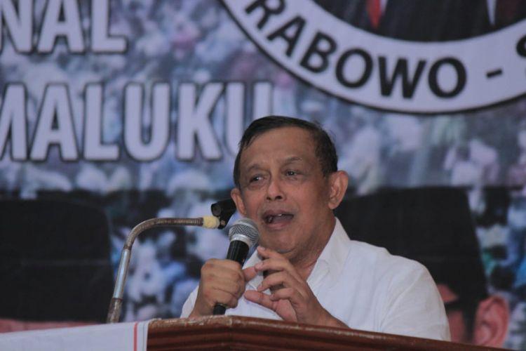 Ketua Badan Pemenangan Nasional Prabowo-Sandi, Jenderal (Purn) Djoko Santoso di acara deklarasi di Gedung Ashari Al Fatah Ambon, Kamis (21/2/2019)