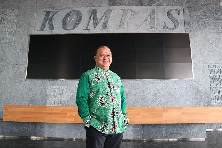 Gubernur Bangka Belitung, Erzaldi Rosman Djohan saat berkunjung ke Menara Kompas, Jakarta.