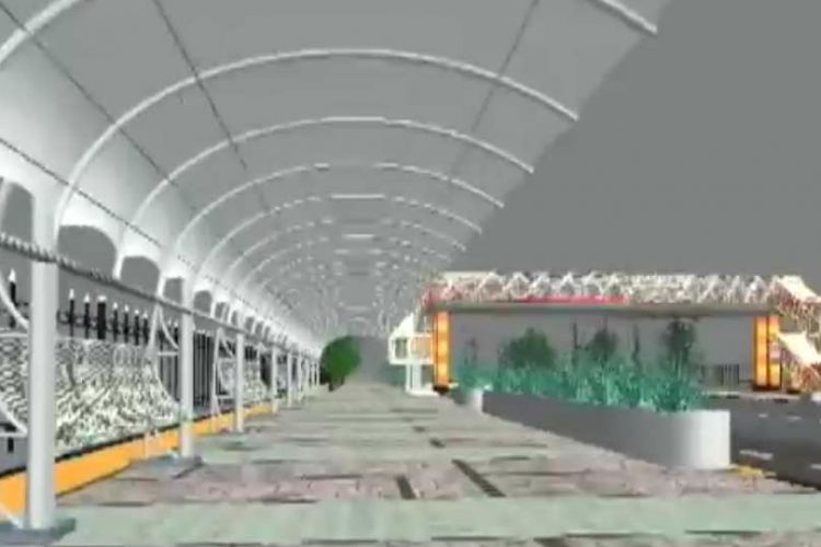 Rancangan jembatan penyeberangan orang (JPO) Pasar Minggu yang akan direalisasikan pada 2018