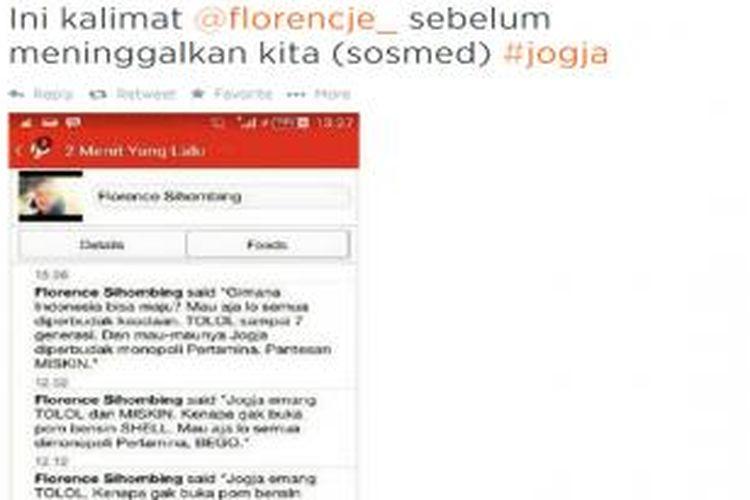 Screen shot akun Path Florence yang berisi kalimat hinaan terhadap warga Yogyakarta.