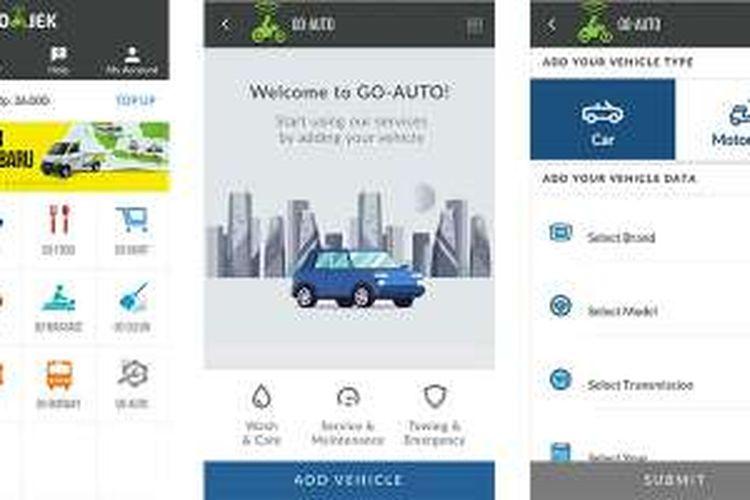 Tampilanan layanan Go-Auto di dalam aplikasi Go-Jek.