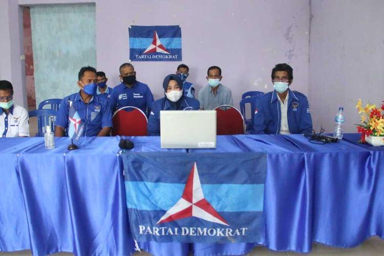 Suasana rapat Dewan Pengurus Cabang (DPC) Partai Demokrat Kabupaten Takalar, Sulawesi Selatan membahas Konferensi Luar Biasa (KLB). Selasa, (9/3/2021).