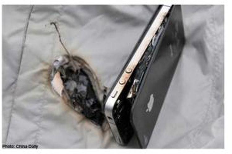 iPhone 4 milik Zhang Jian terbakar saat mengisi daya baterai