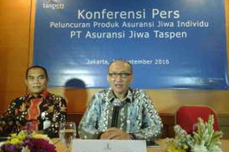 Direktur Utama Taspen Life, Maryoso Sumaryono dalam acara peluncuran produk baru di Jakarta, Kamis (15/9/2016).