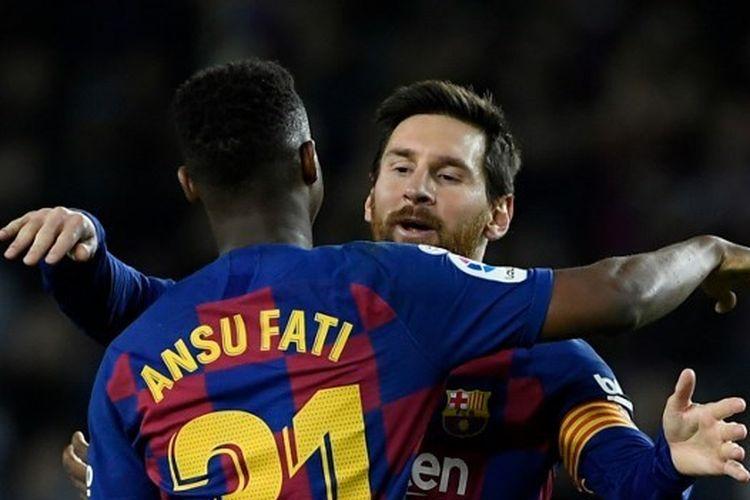 Pemain Barcelona, Ansu Fati merayakan golnya dengan Lionel Messi ke gawang Levante pada Minggu (2/2/2020) atau Senin dini hari WIB di Camp Nou.