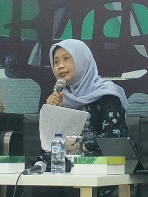 Ketua Sub Komisi Pendidikan Komnas Perempuan Masruchah dalam sebuah diskusi di Kompleks Parlemen, Senayan, Jakarta, Selasa (30/7/2019).