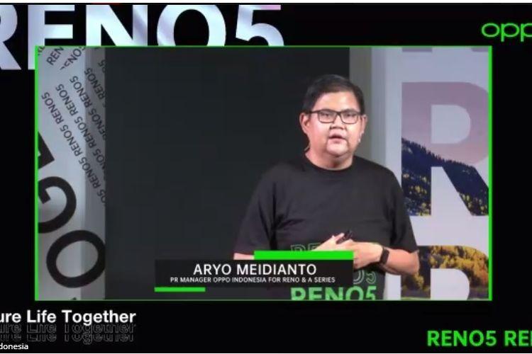 PR Manager Oppo Indonesia, Aryo Meidianto dalam acara Pre Launch Oppo Reno5 yang digelar secara online, Kamis (7/1/2021)