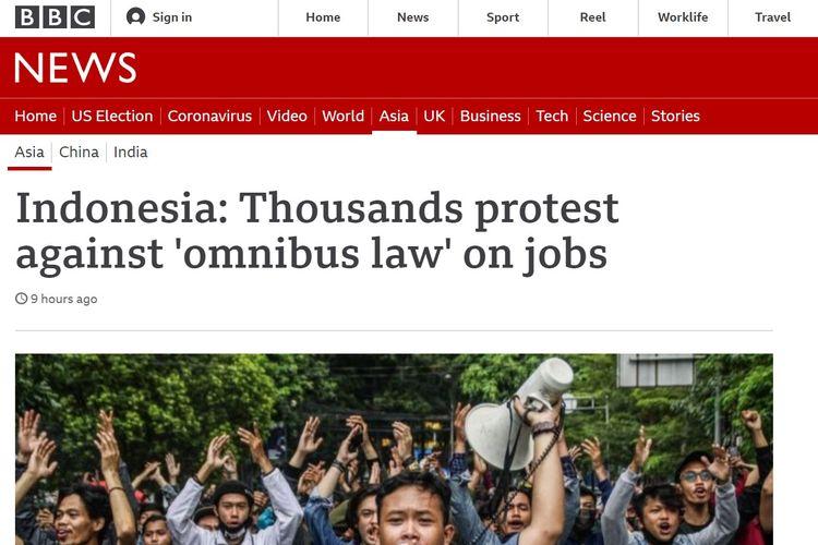 Tangkapan layar dari berita BBC yang menyoroti rusuhnya demo penolakan UU Cipta Kerja di Indonesia.