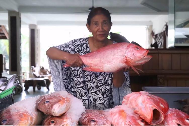 Susi Pudjiastuti mengangkat ikan kakap merah.