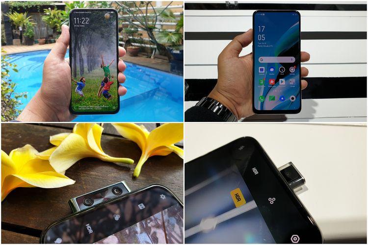 Desain depan dan kamera selfie Vivo V17 Pro (kiri) dan Oppo Reno 2F (kanan)