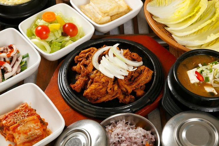 Ilustrasi makanan Korea.