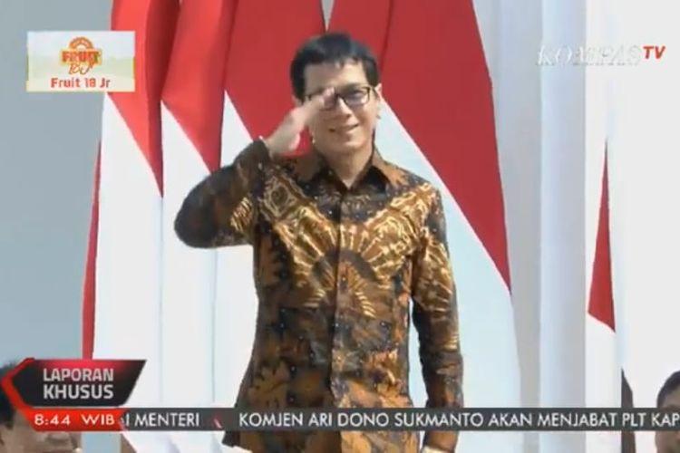 Wishnutama Kusubandio saat diperkenalkan Jokowi sebagai Menteri Pariwisata dan Ekonomi Kreatif, Rabu (23/10/2019).