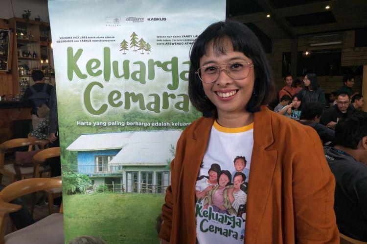 Produser Visinema Pictures, Anggia Kharisma, saat jumpa pers syukuran 1 Juta Penonton Film Keluarga Cemara di kawasan Kemang, Jakarta Selatan, Senin (14/1/2019).