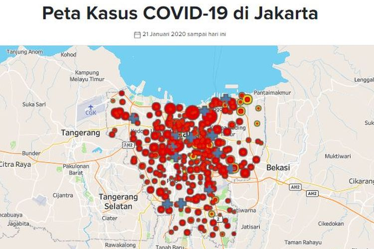 Peta sebaran Covid-19 di Jakarta. Data diambil dari situs corona.jakarta.id pada 3 Juni 2020.