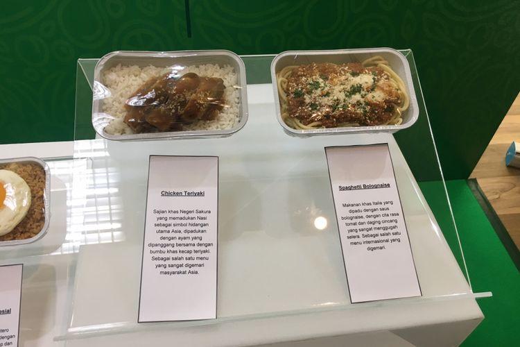 Menu baru dari Citilink Indonesia, menu makanan Chicken Teriyaki dan Spaghetti Bolognaise, Jakarta, Kamis (25/1/2018).