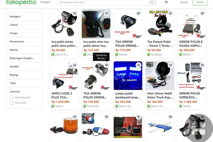 Lampu rotator dan sirene dijual bebas di situs jual beli online.