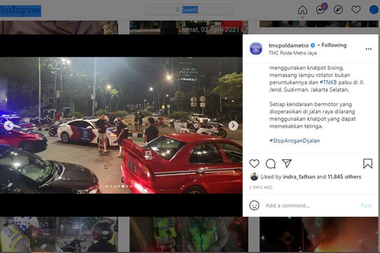 Razia knalpot bising juga menyasar para pengguna mobil