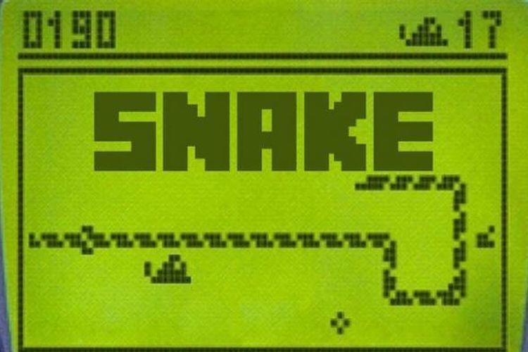Antarmuka game Snake di ponsel Nokia lawas.