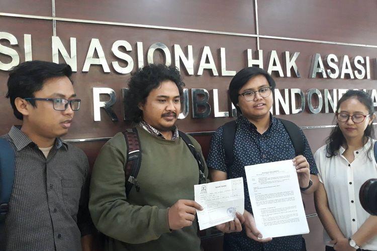 Tim Advokasi untuk Demokrasi mendatangi Komisi Nasional Hak Asasi Manusia (Komnas HAM) untuk melaporkan dugaan kekerasan yang dialami peserta aksi Reformasi Dikorupsi pada September 2019 lalu, Selasa (10/3/2020).