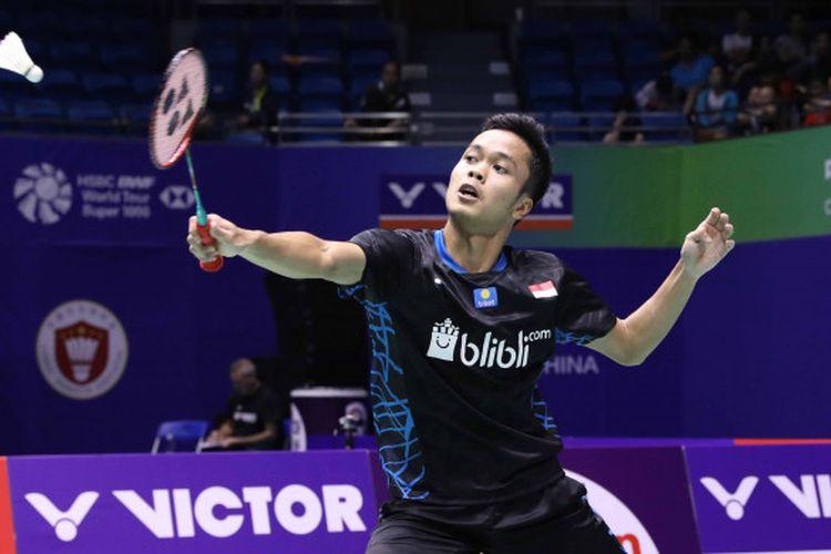 Anthony Sinisuka Ginting saat beraksi pada babak 16 besar China Open 2018 yang berlangsung pada Kamis (20/9/2018).