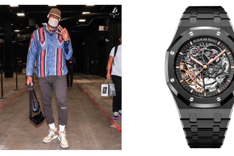 Pebasket LeBron James dengan jam tangan Audemars Piguet black ceramic Royal Oak pilihannya.