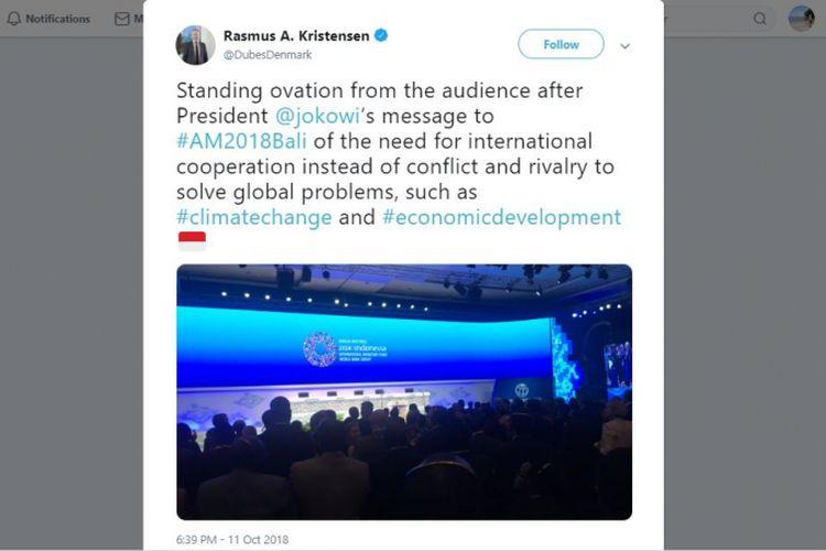 Twit Duta Besar Denmark puji pidato Joko Widodo di IMF 2018.