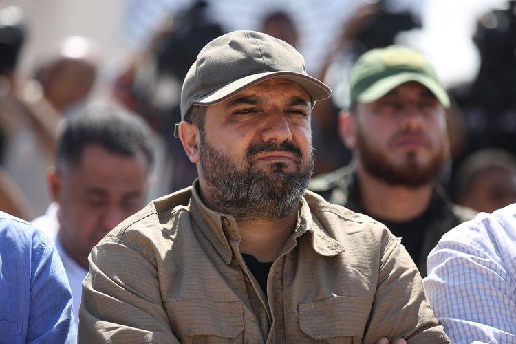 Dalam foto yang diambil pada 21 Oktober 2016, komandan milisi di Jalur Gaza Jihad Islam, Baha Abu al-Ata, menghadiri acara di Gaza City, Jalur Gaza. Israel mengklaim membunuh Ata dan istrinya di rumahnya pada 12 November 2019.