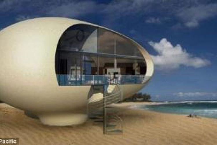 BMT Asia Pasific Ltd telah mendesain berbagai tempat tinggal yang dibuat dari bahan-bahan daur ulang. Termasuk rumah terapung berbentuk telur ini.