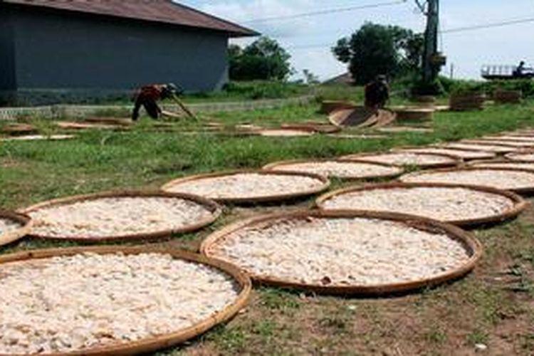 Sejumlah warga di Desa Kenanga, Kecamatan Sindang, Kabupaten Indramayu, Jawa Barat, bekerja mengeringkan kerupuk udang di sebuah pabrik beberapa waktu lalu. Pemerintah diminta memiliki keberpihakan terhadap pengembangan ekonomi kelautan.