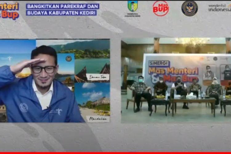 Tangkapan layar webinar kepariwisataan Mas Bup Dhito dan Menteri Pariwisata dan Ekonomi Kreatif Sandiaga Uno.