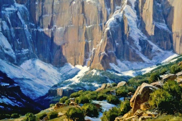 Salah satu koleksi di Rockwell Museum, lukisan karya Clyde Aspevig berjudul Winter In Zion, 1987. Oil on canvas, 48 x 54 in. 88.6 F.