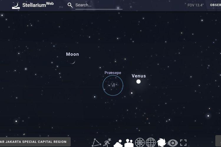 Tripel konjungsi Bulan-Venus-Beehive: 14 September 2020