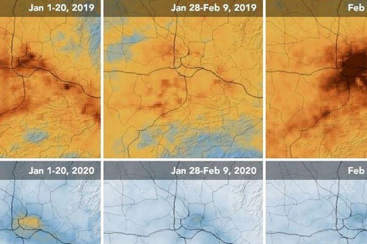 Penampakan polusi di China yang berkurang drastis berdasarkan satelit.