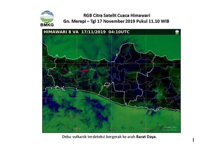 Lokasi Gunung Merapi pada Minggu, (17/11/2019) pukul 11.10 WIB, debu vulkanik terdeteksi bergerak ke arah Barat Daya.(BMKG)