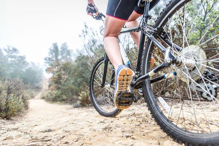 Ilustrasi pengendara sepeda - Seorang pengendara sepeda melintasi jalur tanah.